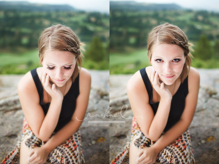 Natural light high school senior girl photos in Denver with professional makeup and lashes in the mountains and rain.